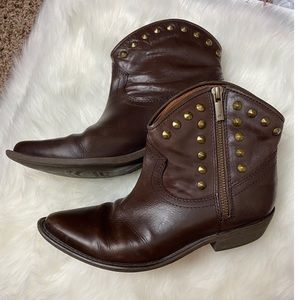 Lucky Brand Brown Studded Ankle Boots